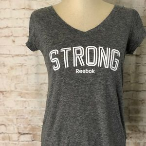 Reebok Strong V Neck Tee Gray T Shirt Size Small